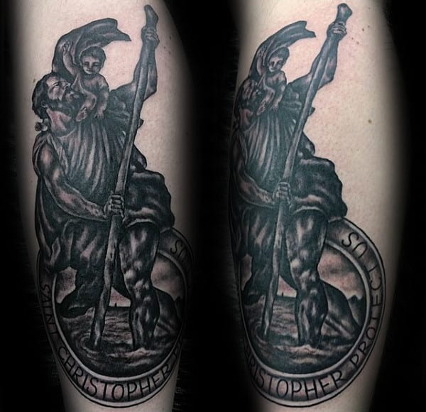Saint Christopher Male Outer Forearm Tattoo Designs