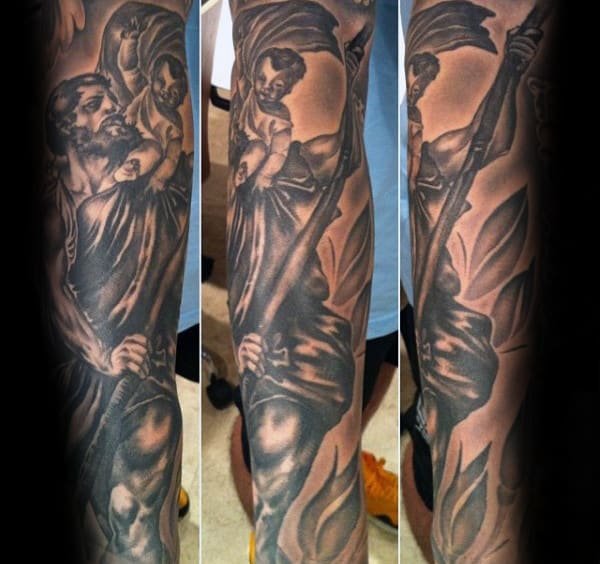 Saint Christopher Mens Full Arm Sleeve Tattoos