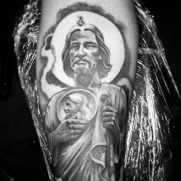 Saint Jude Tattoo On Mans Leg