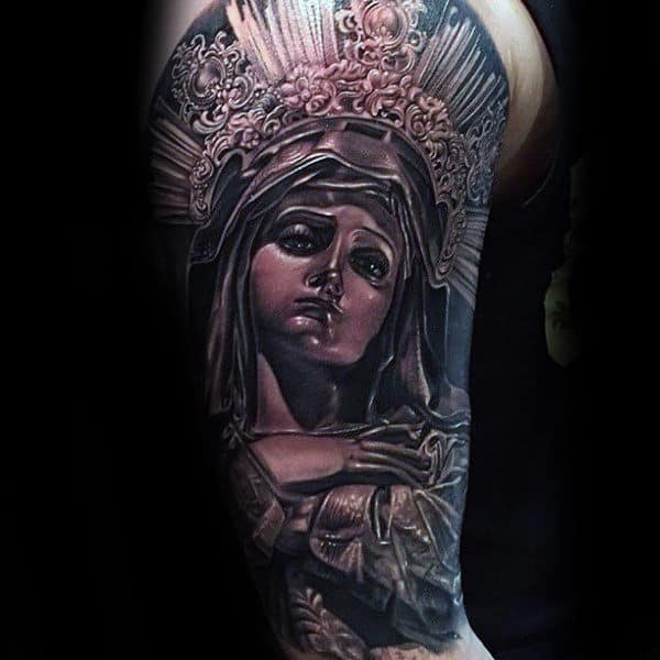 Saint Mary Guys Half Sleeve Tattoos