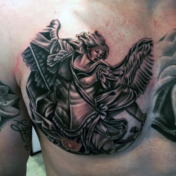 Saint Micheal Prayer Tattoo For Men On Left Chest