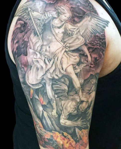 Saint Michael Tattoo Sleeves For Men