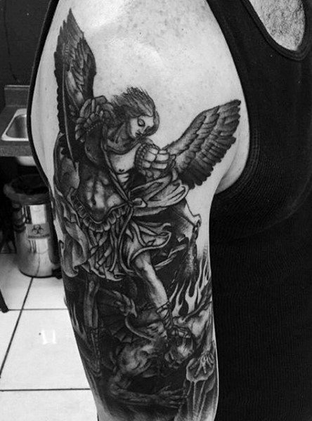 Black Saint Michael The Archangel Tattoos On Man