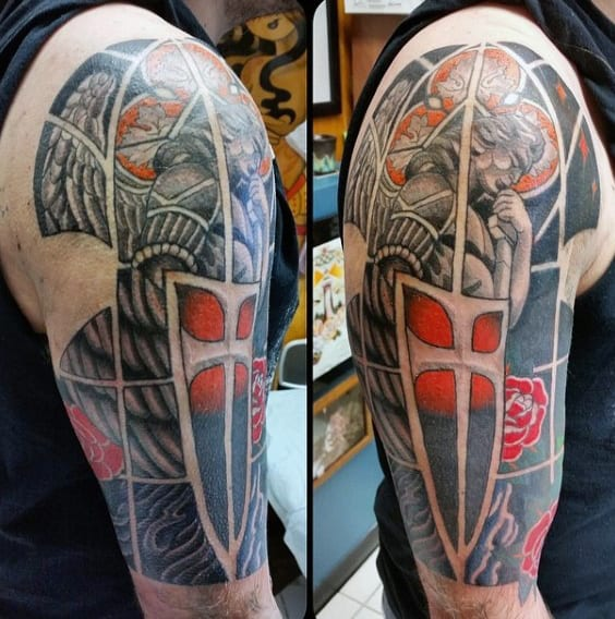 Saint Micheal Mens Half Sleeve Stained Glass Tattoo Ideas