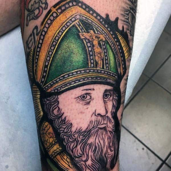 Saint Patrick Guys Irish Themed Arm Tattoo Ideas