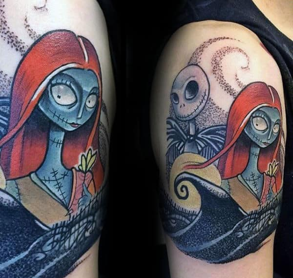 Sally And Jack Mens Night Before Christmas Upper Arm Tattoos