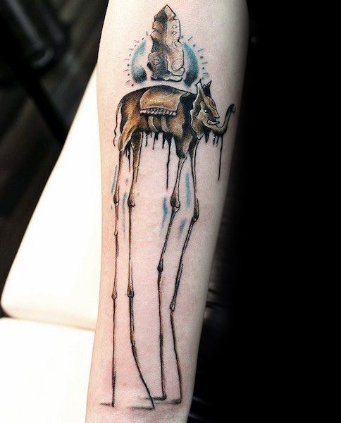Salvador Dali Elephant Tattoo Designs For Guys