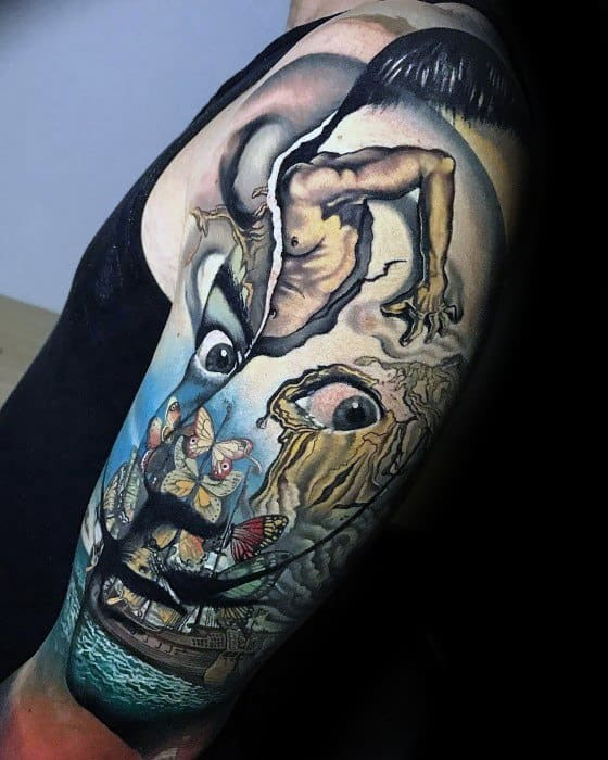 Salvador Dali Half Sleeve Mens Tattoo Ideas