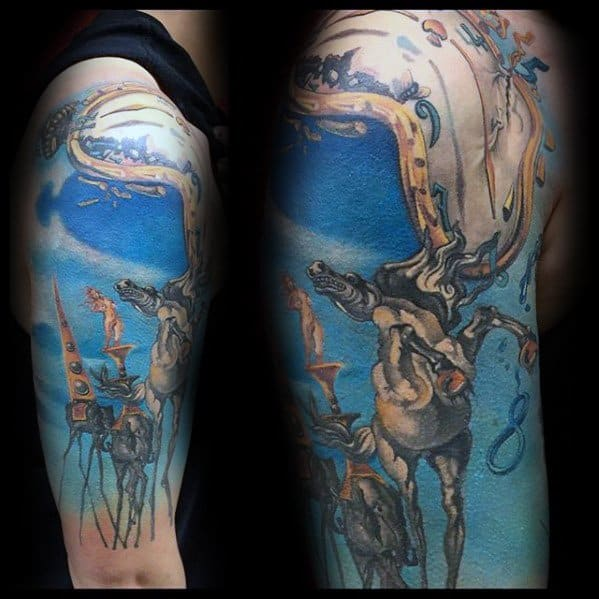 Salvador Dali Half Sleeve Tattoo Design Ideas For Males