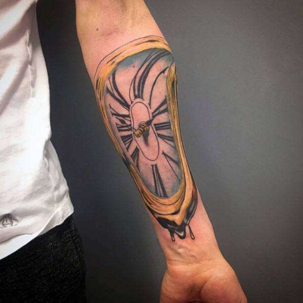 Salvador Dali Inner Forearm Melting Clock Tattoo Designs For Guys