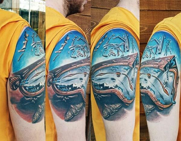 Salvador Dali Melting Clock Mens Quarter Sleeve Tattoos