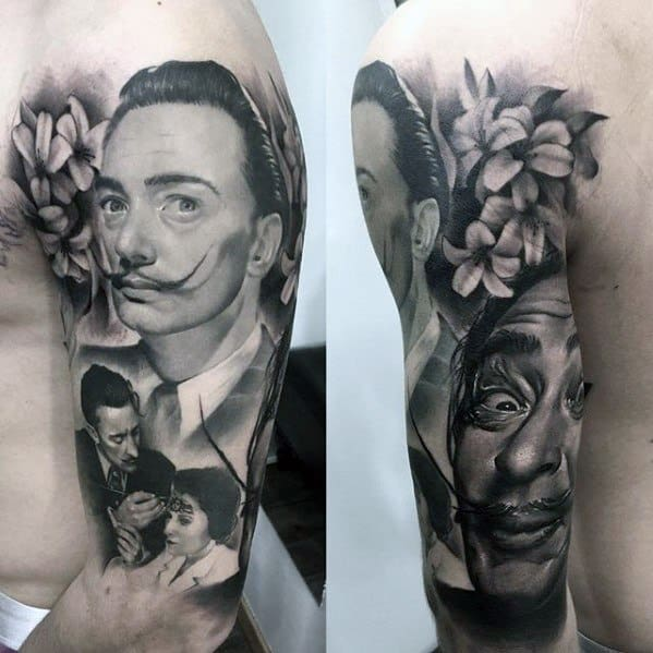 Salvador Dali Themed Half Sleeve Shaded Tattoo Ideas For Males