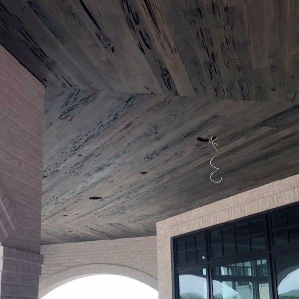 Salvaged Barn Wood Porch Ceiling