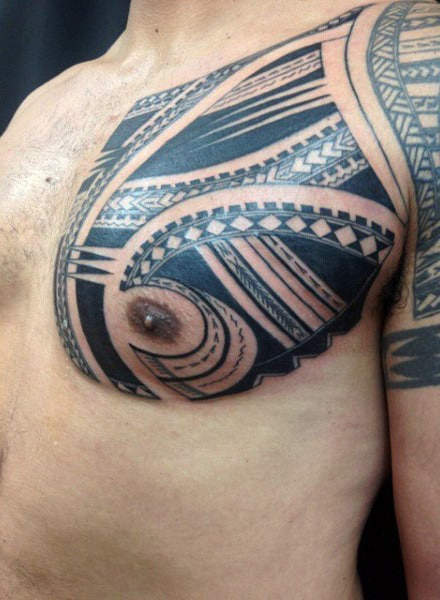 Samoan Amazing Mens Tribal Chest Tattoos