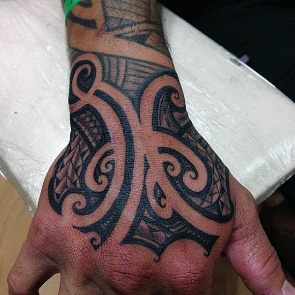 Samoan Black Ink Mens Tribal Hand Tattoos