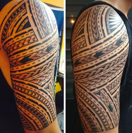 Samoan Mens Tribal Half Sleeve Tattoos