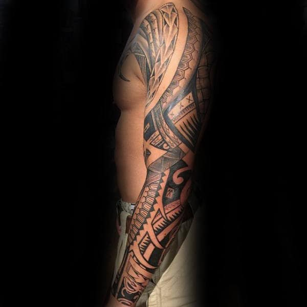 Samoan Sleeve Male Arm Tattoo Tribal Designs