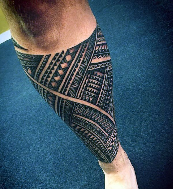 Samoan Tribal Leg Sleeve Tattoos For Men