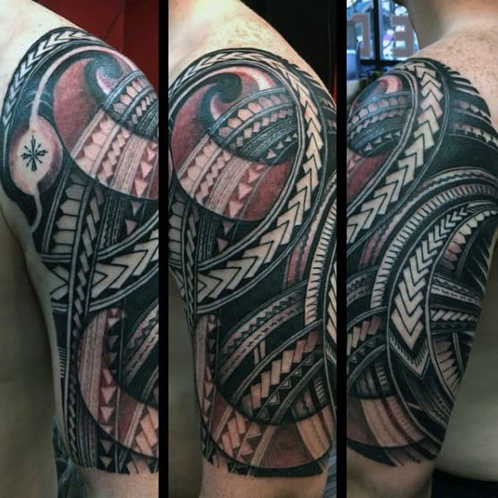 Samoan Tribal Mens Red And Black Ink Half Sleeve Tattoos