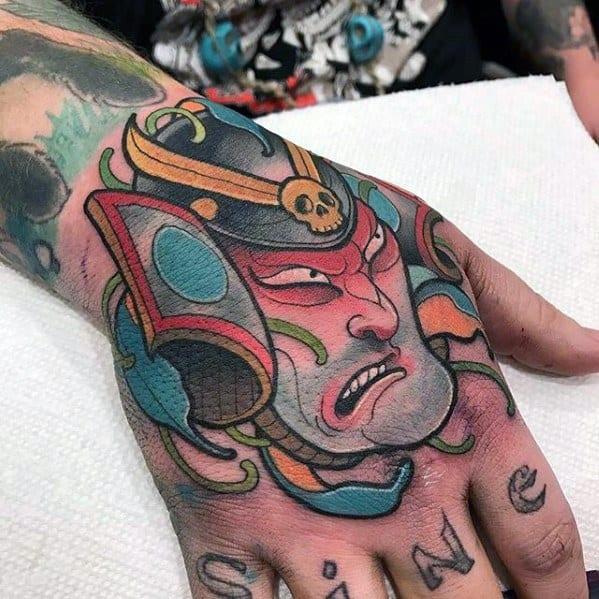 Samuari Colorful Mens Unique Tattoo Designs On Hands