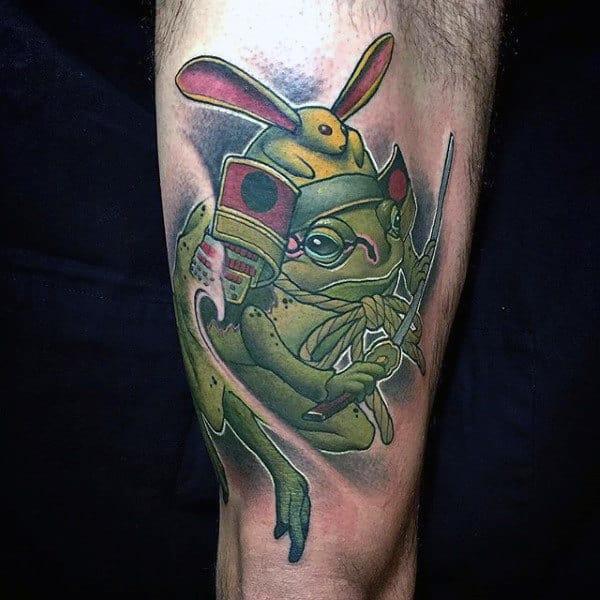 Samuari Frog Mens Thigh Tattoos
