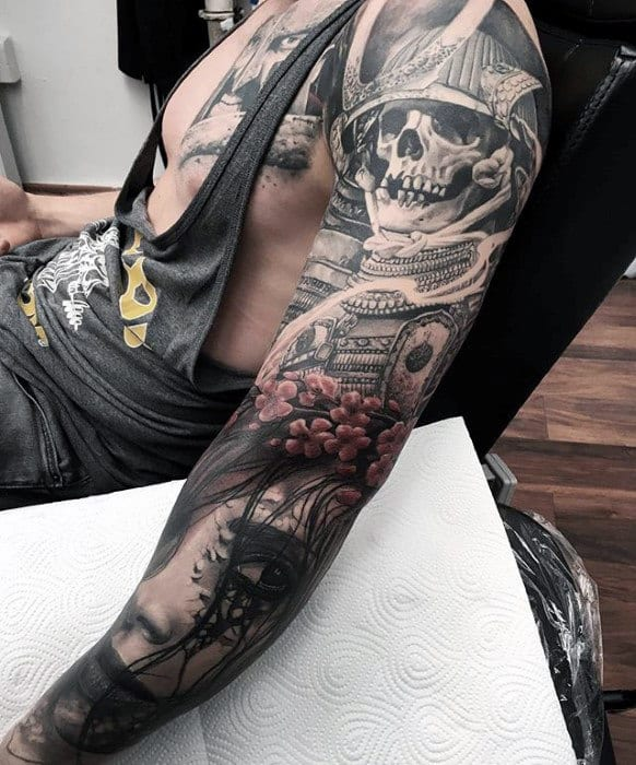 Samuari Helmet Skull Guys 3d Sleeve Tattoo Design Inspiration