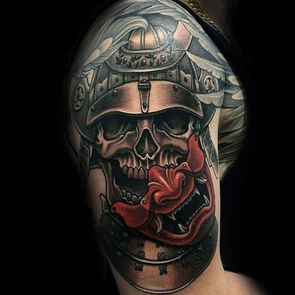 Samuari Helmet With Red Japanese Demon Mask Unbelievable Guys Arm Tattoos