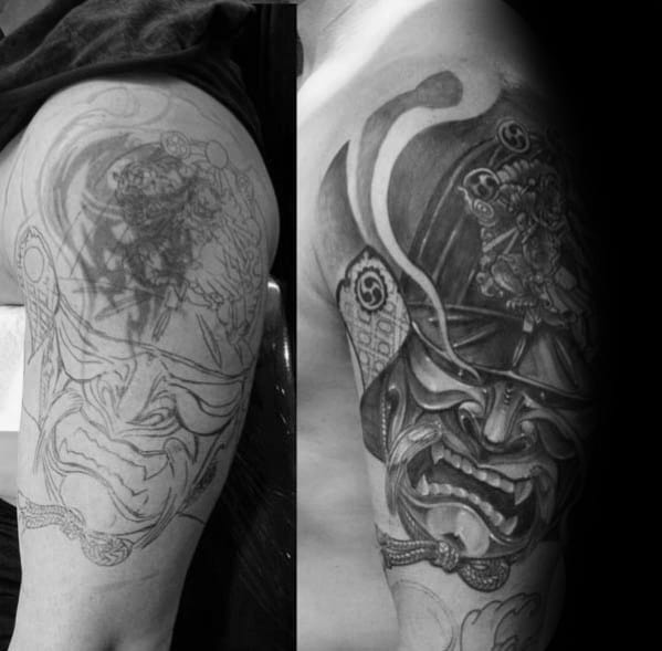 Samuari Mask Tattoo Cover Up Ideas On Arm For Males
