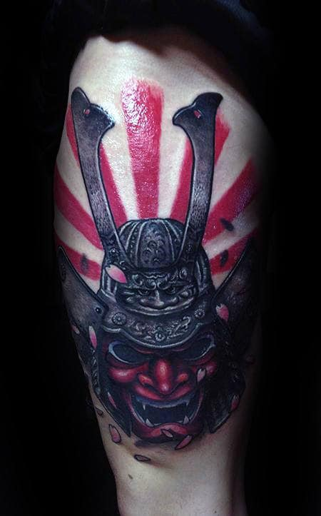 Samuari Mask Tattoo With Rising Sun Mens Thigh Tattoos