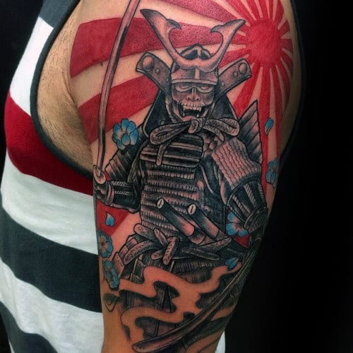 Samuari Mens Warrior Rising Sun Half Sleeve Tattoo