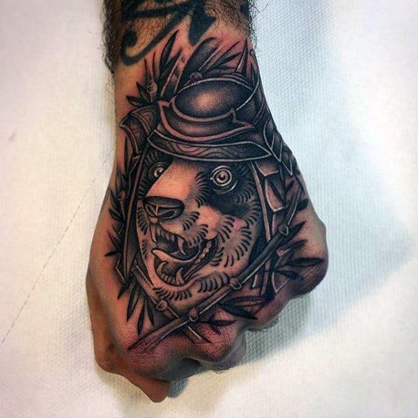 Samuari Panda Mens Hand Tattoos