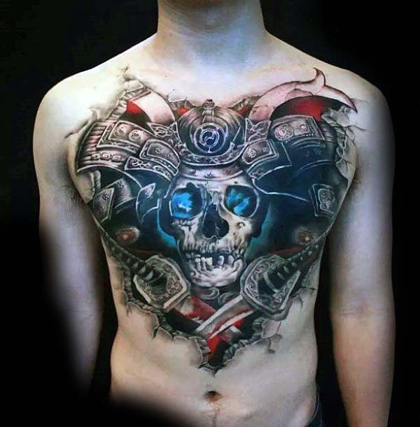 Samuari Skull With Swords Extreme Male Chest Tattoo Ideas