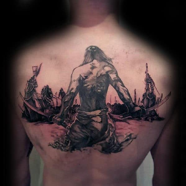 Samuari Warrior Guys Cool Watercolor Back Tattoos