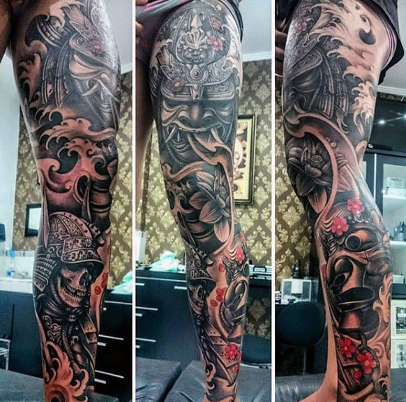 Samuari Warrior Skull Mens Leg Sleeve Japanese Tattoo