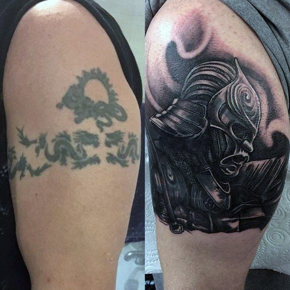 Samuari Warrior Upper Arm Tattoo Cover Up Ideas For Males