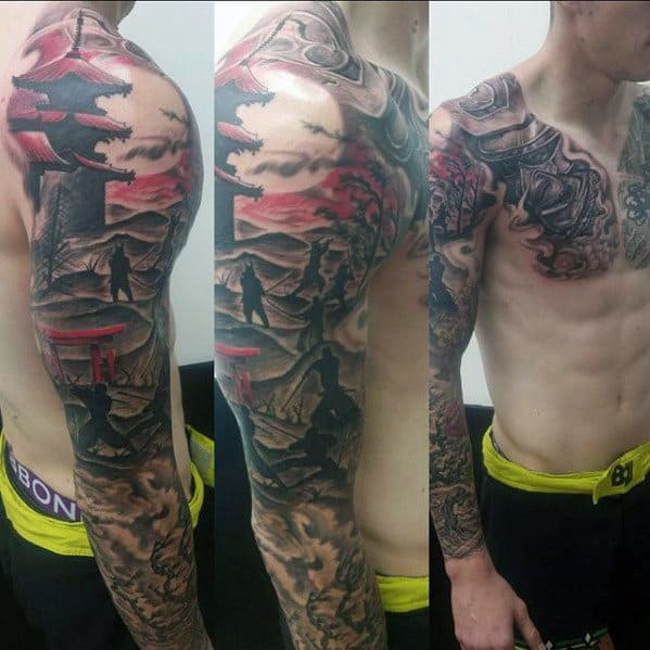 Samuari Warriors With Temple Guys Japanese Full Arm Sleeve Tattoos