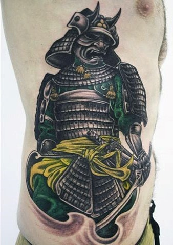 Samurai Armor Tattoo For Men On Ribs