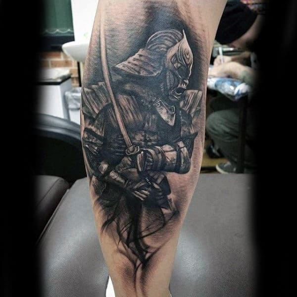 Samurai Badass Tattoos For Guys On Leg Calf