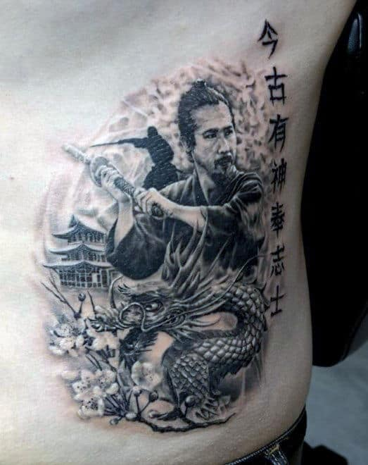 Samurai Fighting Dragon Men's Tattoo On Ribs Side
