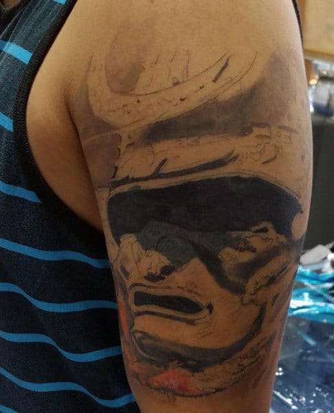 Samurai Helmet Tattoo For Men On Arm