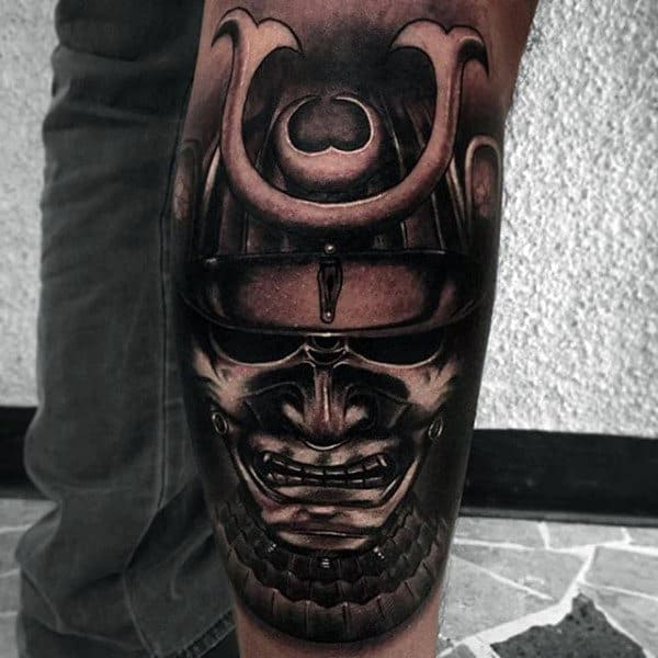 Samurai Insane Mens Leg Tattoo Sleeve