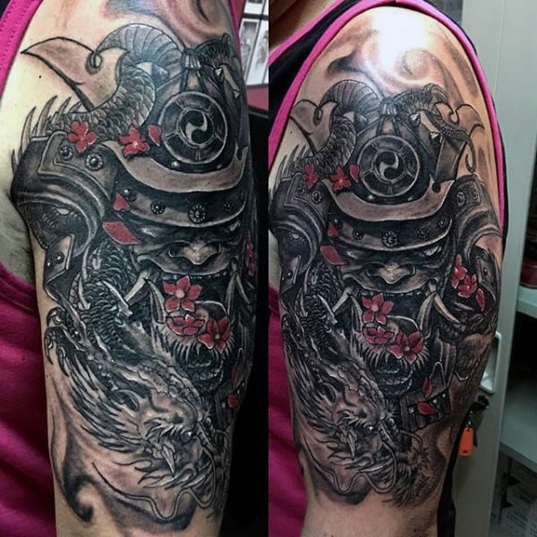 Samurai Mask And Dragon Dark Shaded Half Sleeve Tattoo For Guys