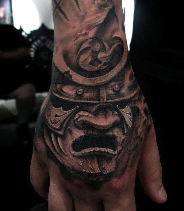 Samurai Masks Face Tattoos For Guy's Hands
