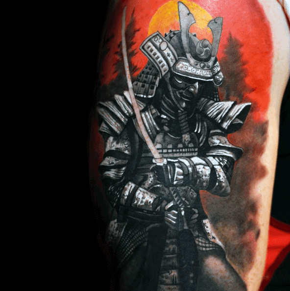 Samurai Mens Rising Sun Watercolor Upper Arm Tattoos