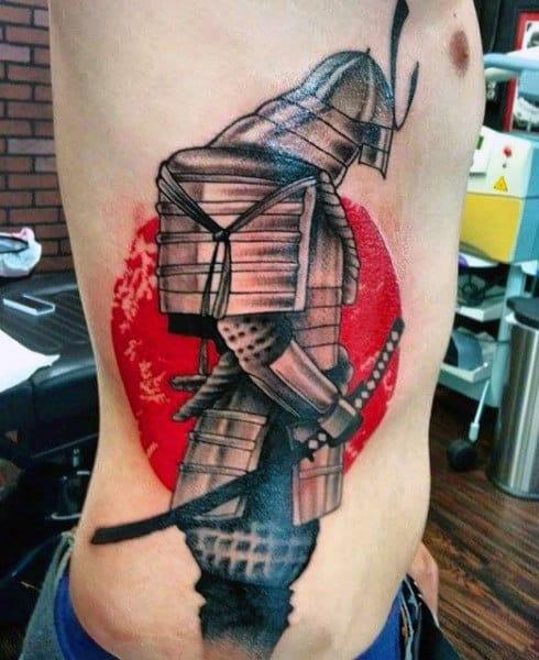 Samurai Red Tattoo For Men On Side Of Body