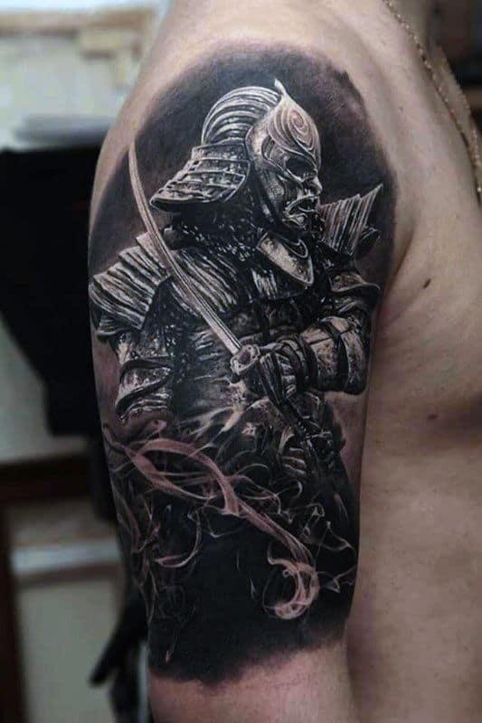 Samurai Warrior Male Half Sleeve Katana Tattoo
