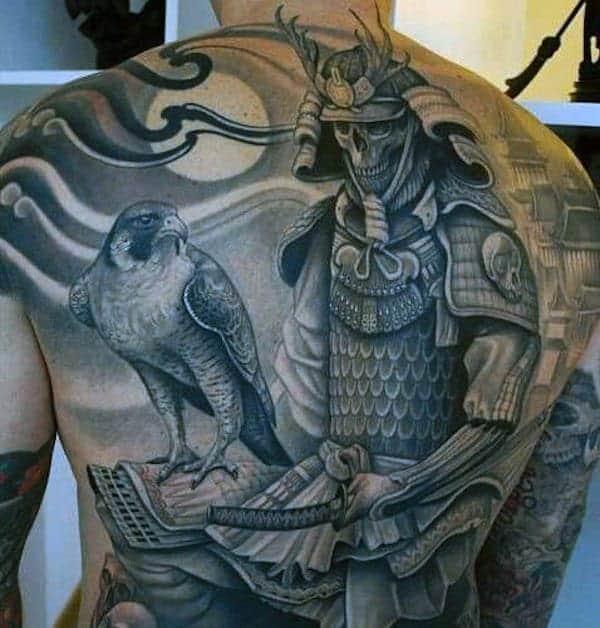 samurai-with-bird-back-tattoo-men