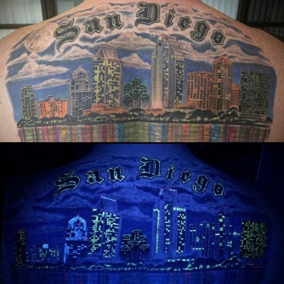 San Diego Skyline Mens Back Tattoo With Glow In The Dark Uv Ink Effect