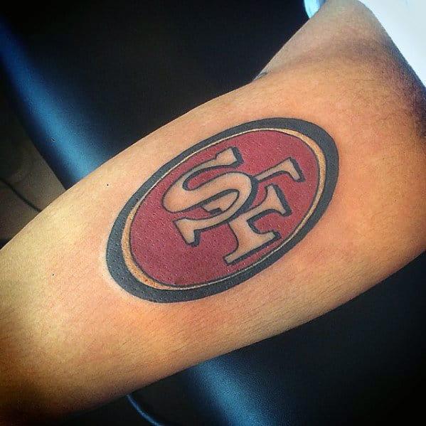 San Francisco 49ers Logo Guys Inner Arm Bicep Tattoo