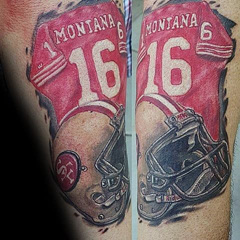 San Francisco 49ers Montant Footbacll Jersey With Helmet Mens Arm Tattoo
